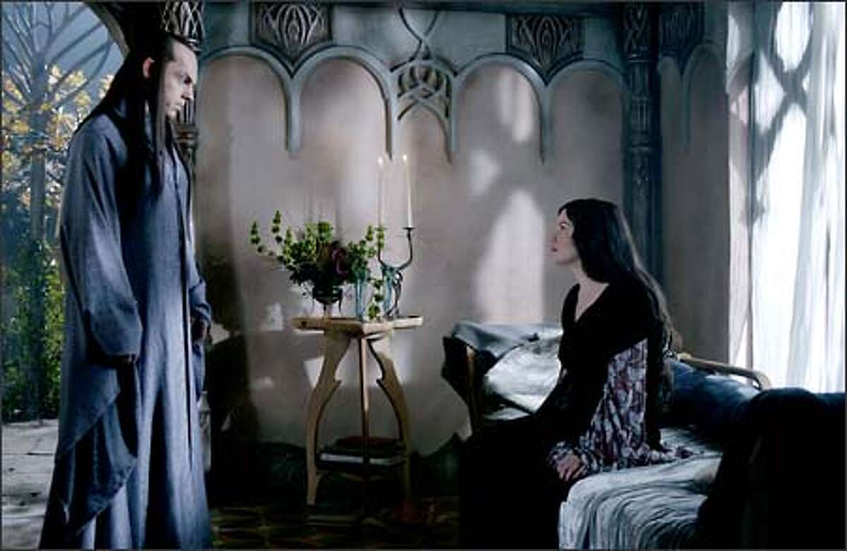 Arwen (Liv Tyler) challenges her father Elrond's (Hugo Weaving) desire for her to leave Middle-earth with the rest of the elves.
