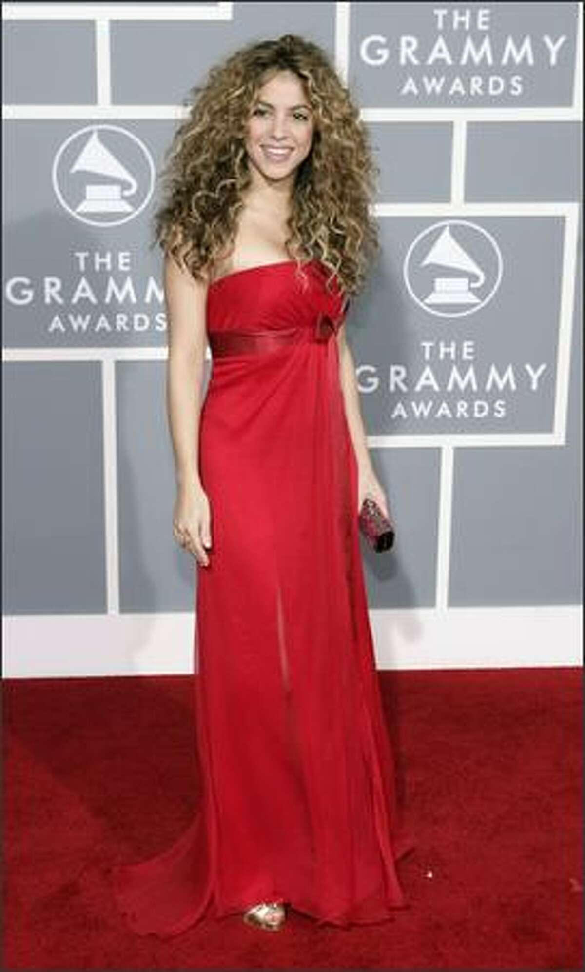 Shakira arrives for the 49th Annual Grammy Awards. (AP Photo/Matt Sayles)