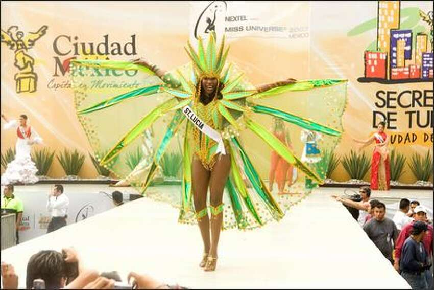 Yoanna Henry, Miss St. Lucia 2007, participates in the 2007 Miss Universe National Costume Show at the Angel of Independence in Mexico City on May 20.