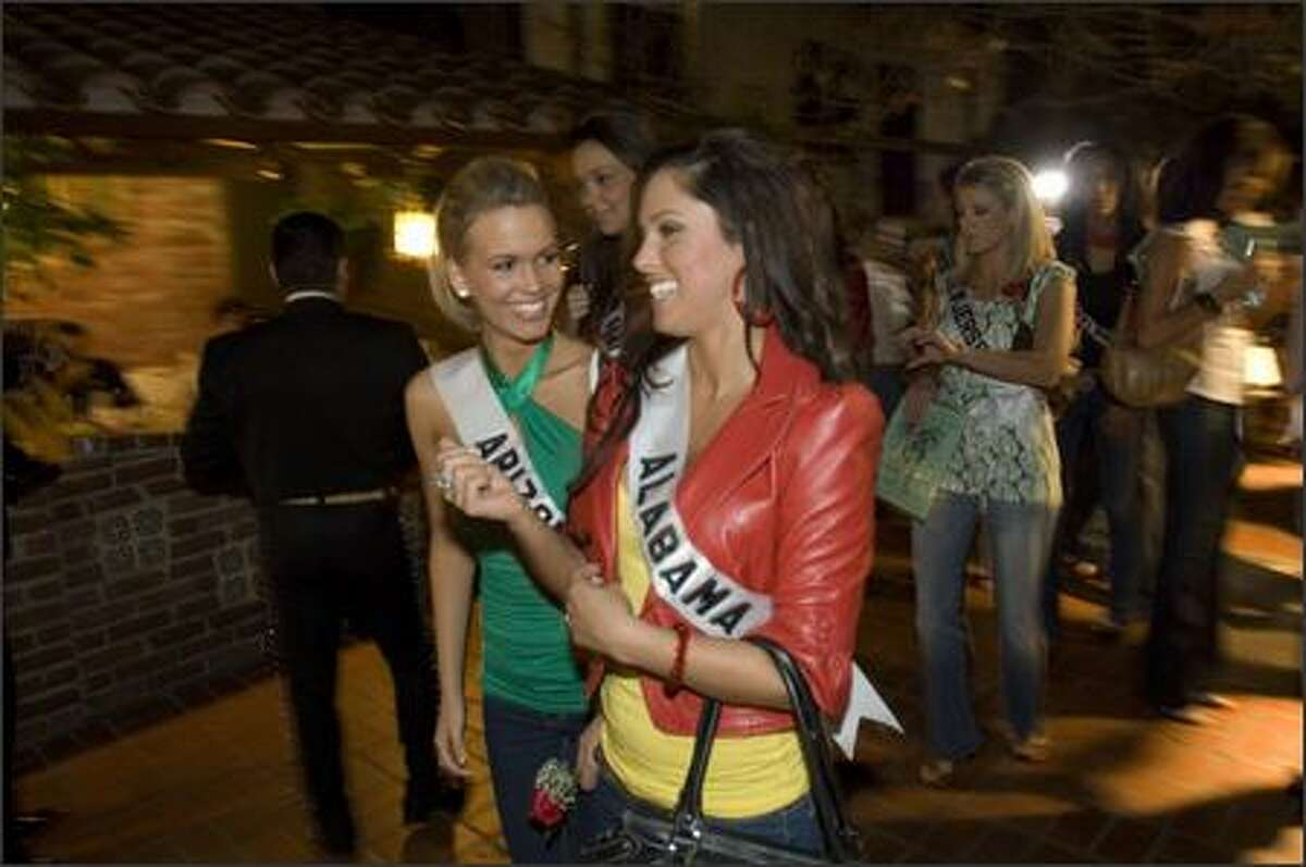 Courtney Lorraine Barnas, Miss Arizona USA 2007, and Rebecca Moore, Miss Alabama USA 2007, on historic Olvera Street.