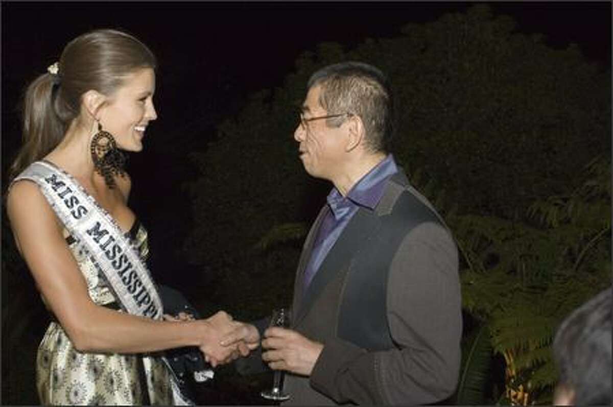 Jalin Wood, Miss Mississippi USA 2007, arrives at a reception at designer Tadashi's house in Pasadena, Calif., on March 10.