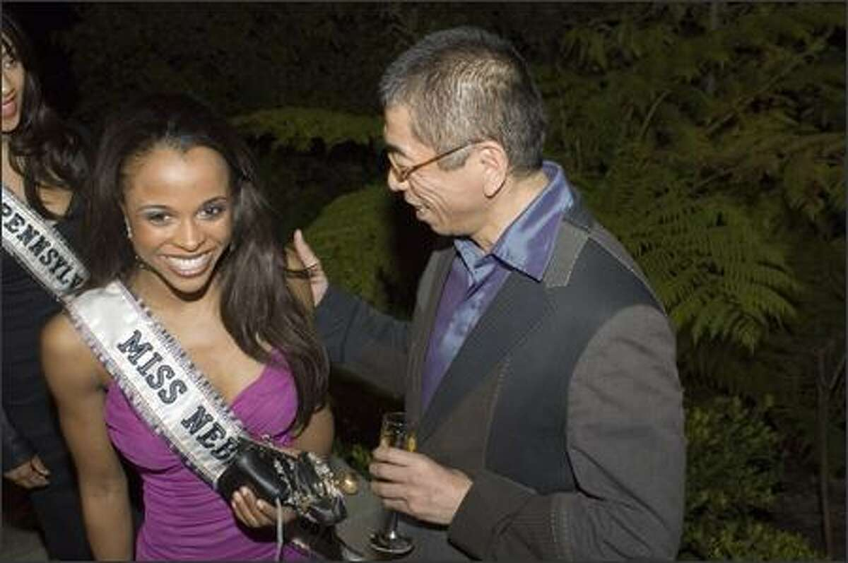Geneice Irene Wilcher, Miss Nebraska USA 2007, arrives at a reception at designer Tadashi's house in Pasadena, Calif., on March 10.