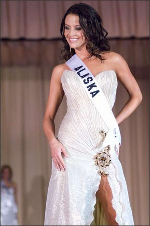Blair Chenoweth, Miss Alaska USA 2007, competes in an evening gown of her choice during the Miss USA 2007 Preliminary Event at the Wilshire Grand Hotel in Los Angeles on March 19. Each contestant was judged by a panel of judges in individual interview, swimsuit and evening gown categories. The scores will be tallied and the top 15 contestants will be announced during the NBC telecast on March 23. Photo: Miss Universe L.P., LLLP
