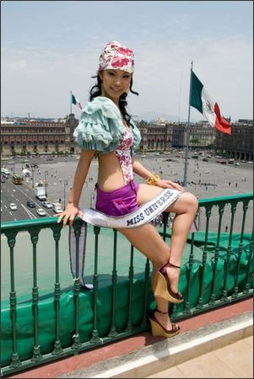 Riyo Mori at the Zocalo. Mori beat out 76 other contestants for the crown after nearly a month of public appearances, rehearsals and judging in personal interviews, swimsuits and evening gowns.