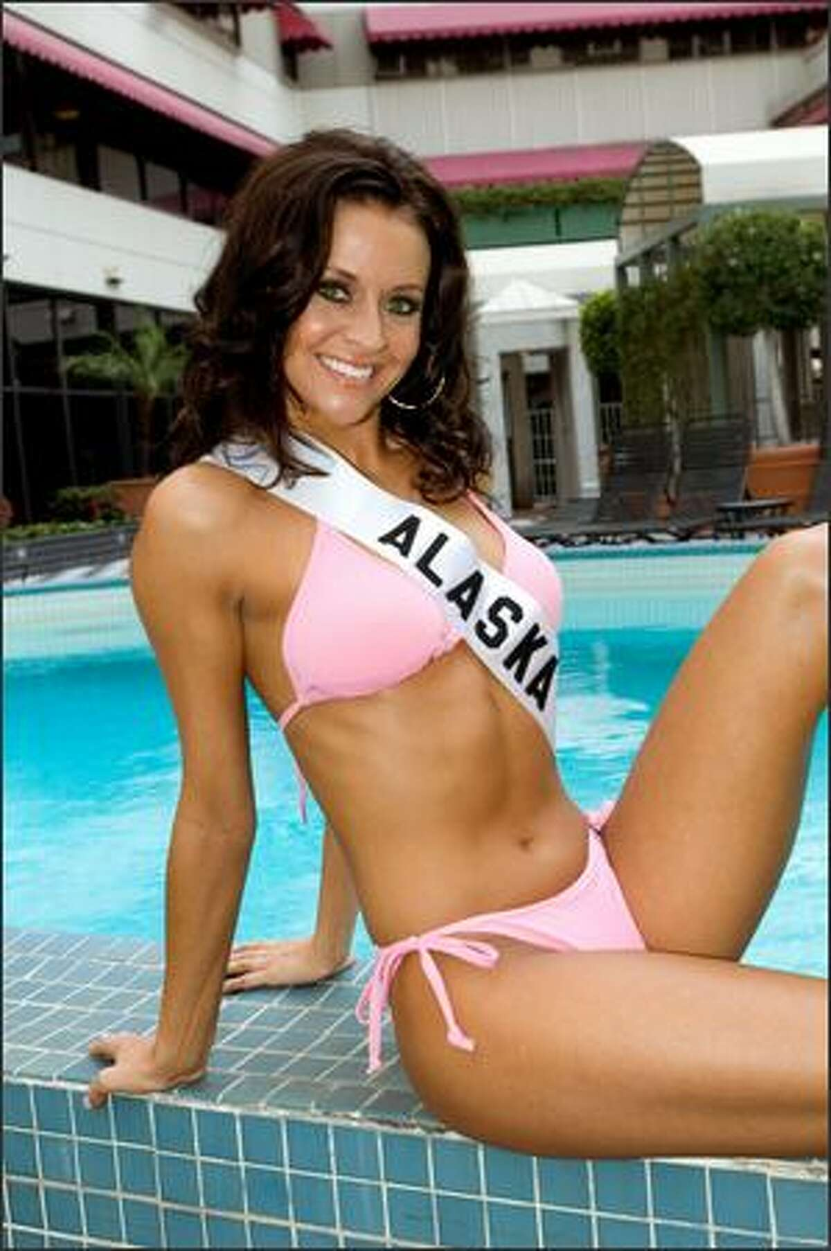 Blair Chenoweth, Miss Alaska USA 2007, poses in her swimwear by BSC Thailand at the pool at the Wilshire Grand Hotel in Los Angeles on March 8, 2007. She will compete for the title of Miss USA 2007 during the NBC telecast of the 56th annual Miss USA competition on March 23 at 9 p.m. (ET/delayed PT) from Los Angeles.