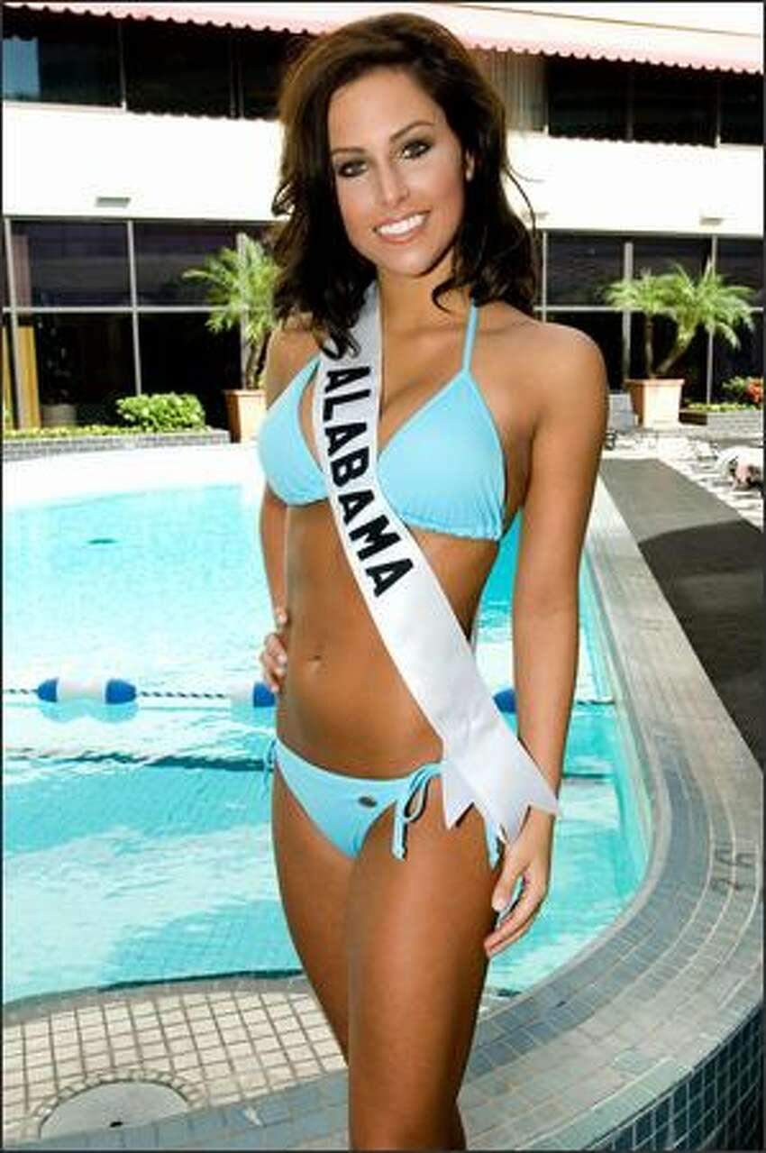 Rebecca Moore, Miss Alabama USA 2007, poses in her swimwear by BSC Thailand at the pool at the Wilshire Grand Hotel in Los Angeles on March 8, 2007. She will compete for the title of Miss USA 2007 during the NBC telecast of the 56th annual Miss USA competition on March 23 at 9 p.m. (ET/delayed PT) from Los Angeles.