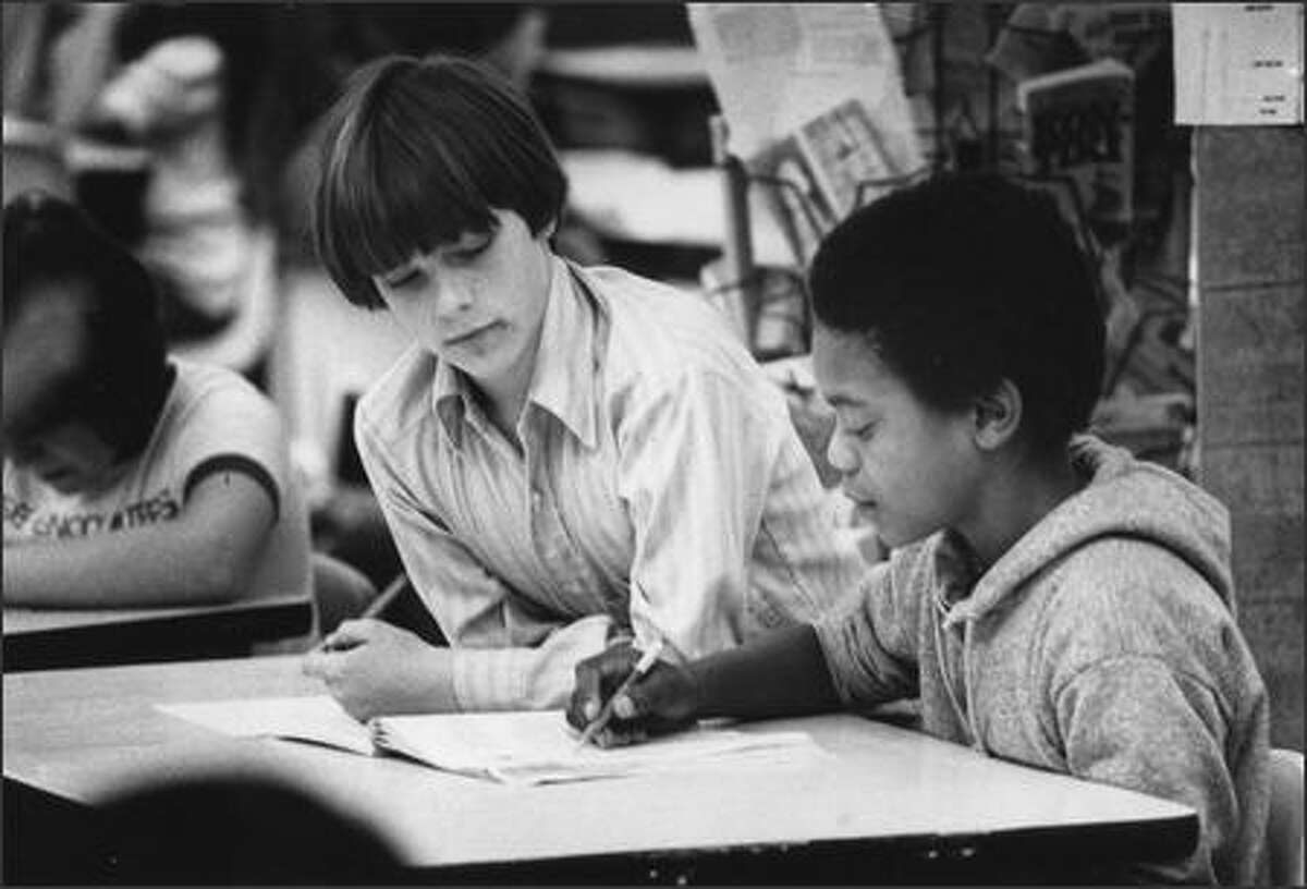 Student Geoff talks to classmate Darren on April 20, 1978 at Dearborn Park Elementary. (Cary W. Tolman/P-I)