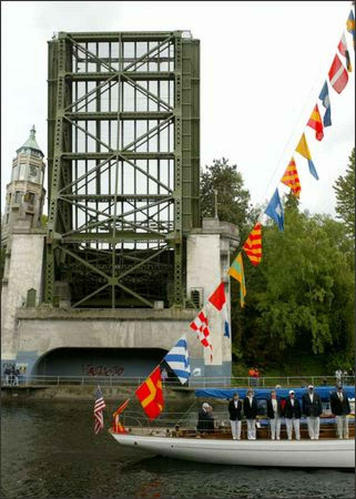 The Montlake Bridge, pictured raised.