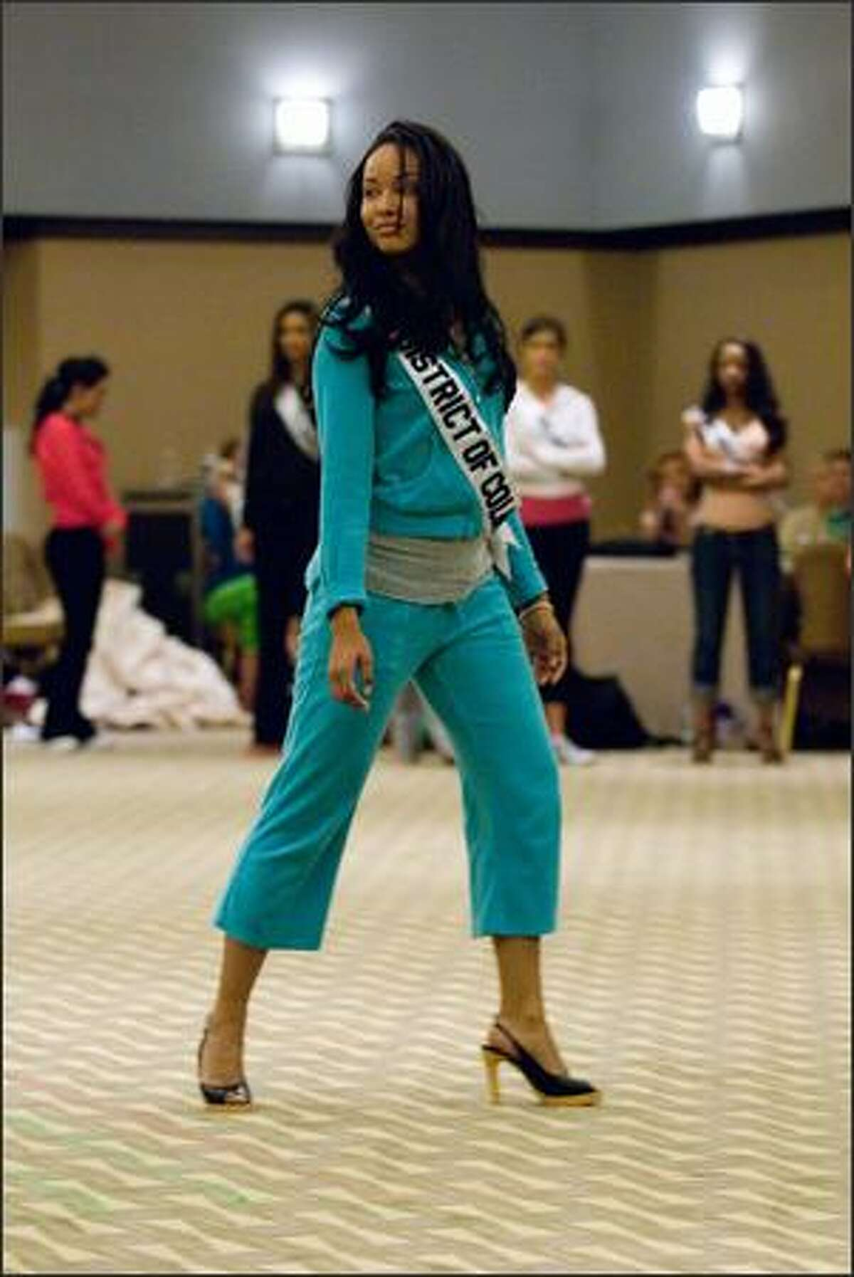 Mercedes Catherine Lindsey, Miss District of Columbia USA 2007, rehearses for the Miss USA 2007 competition at the Wilshire Grand Hotel on March 11.