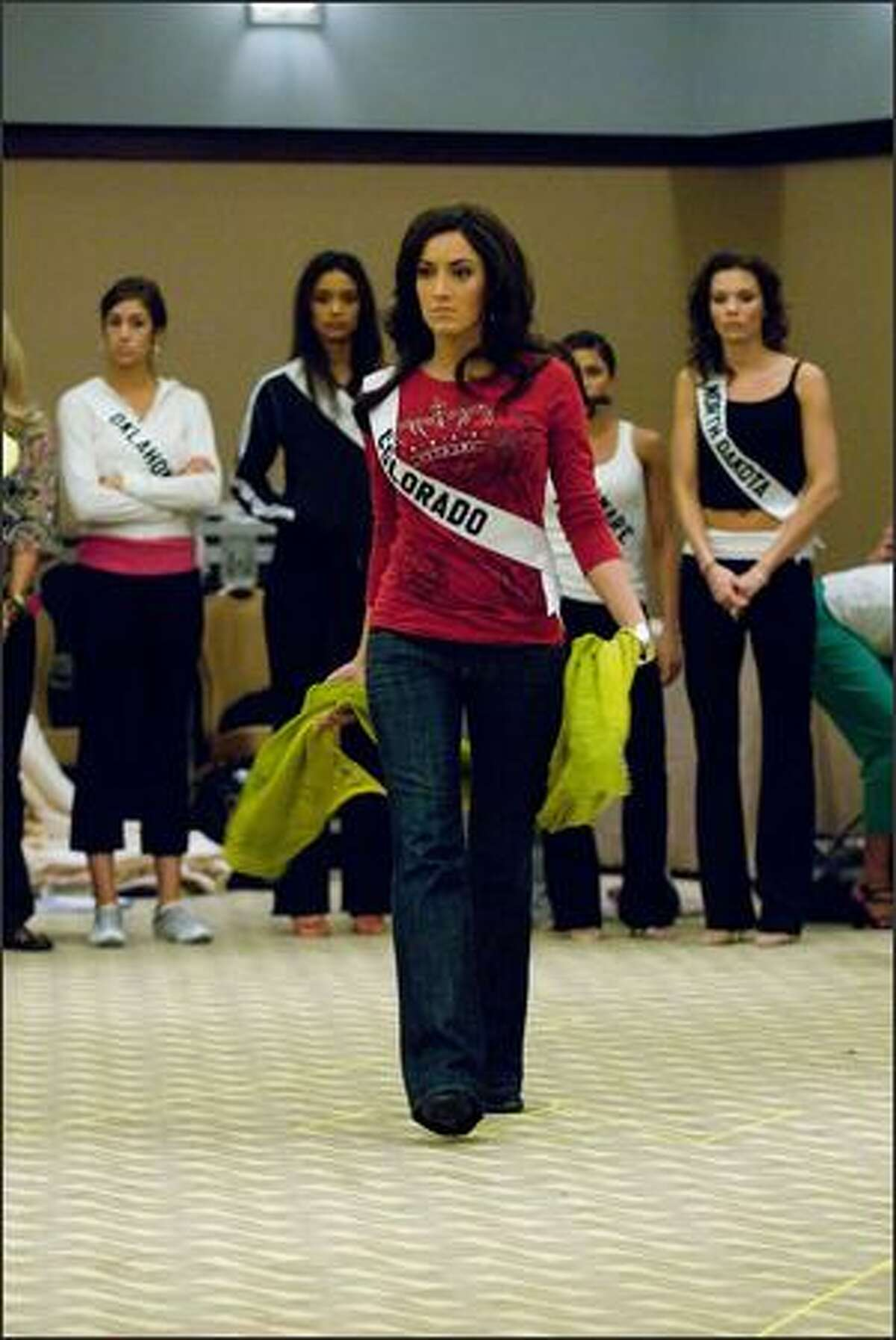 Keena Bonella, Miss Colorado USA 2007, rehearses for the Miss USA 2007 competition at the Wilshire Grand Hotel on March 11.