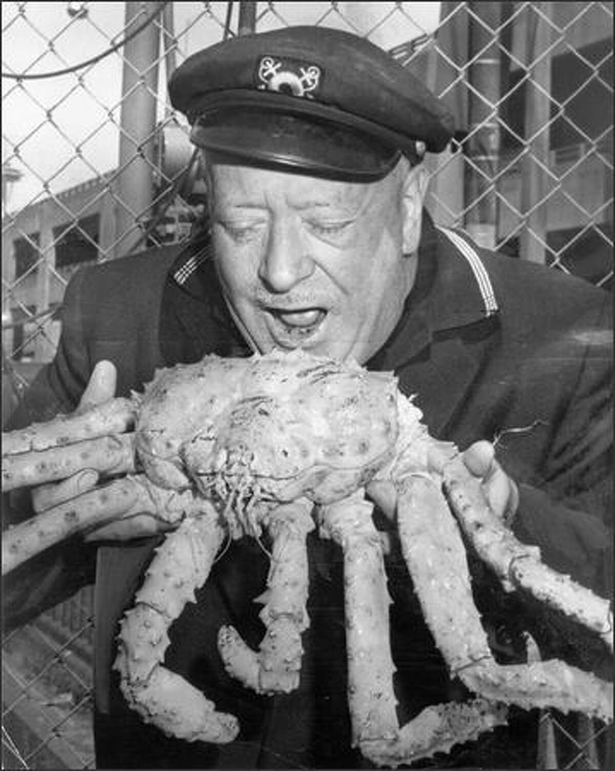 """""""Ivar Haglund and King Crab"""" """"Haglund enjoyed clowning for a good cause: a benefit crab auction in 1964."""""""