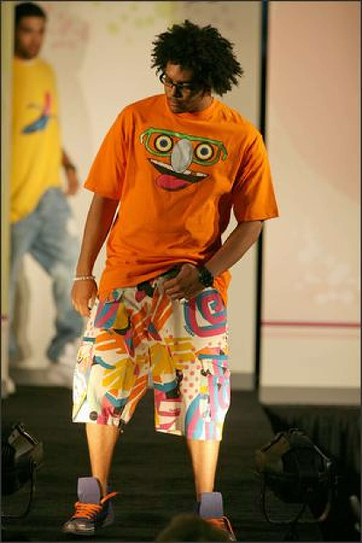 Joey McDaniel models the Home Boy T-shirt and Jam Shorts.