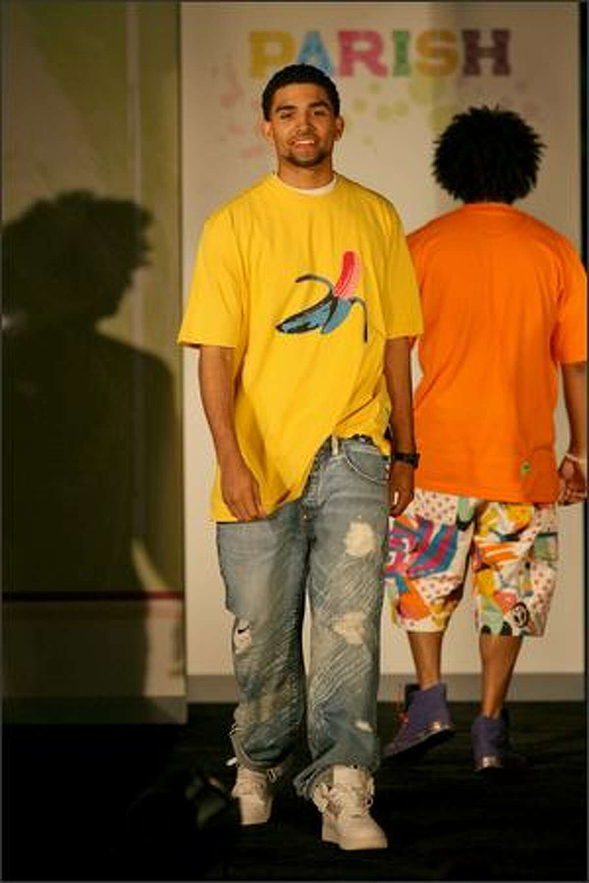 Andrew Powell models the Banana T-Shirt and P-Jeans.