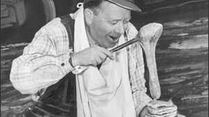 """When a tank car spilled gallons of corn syrup onto the tracks directly accross from Ivar Haglund's restaurant on Seattle waterfront, Ivar posed for newspaper photos loading the goo onto a plate of pancakes and telling the crowd, """"Eat at Ivar's. We don't skimp on the syrup."""""""