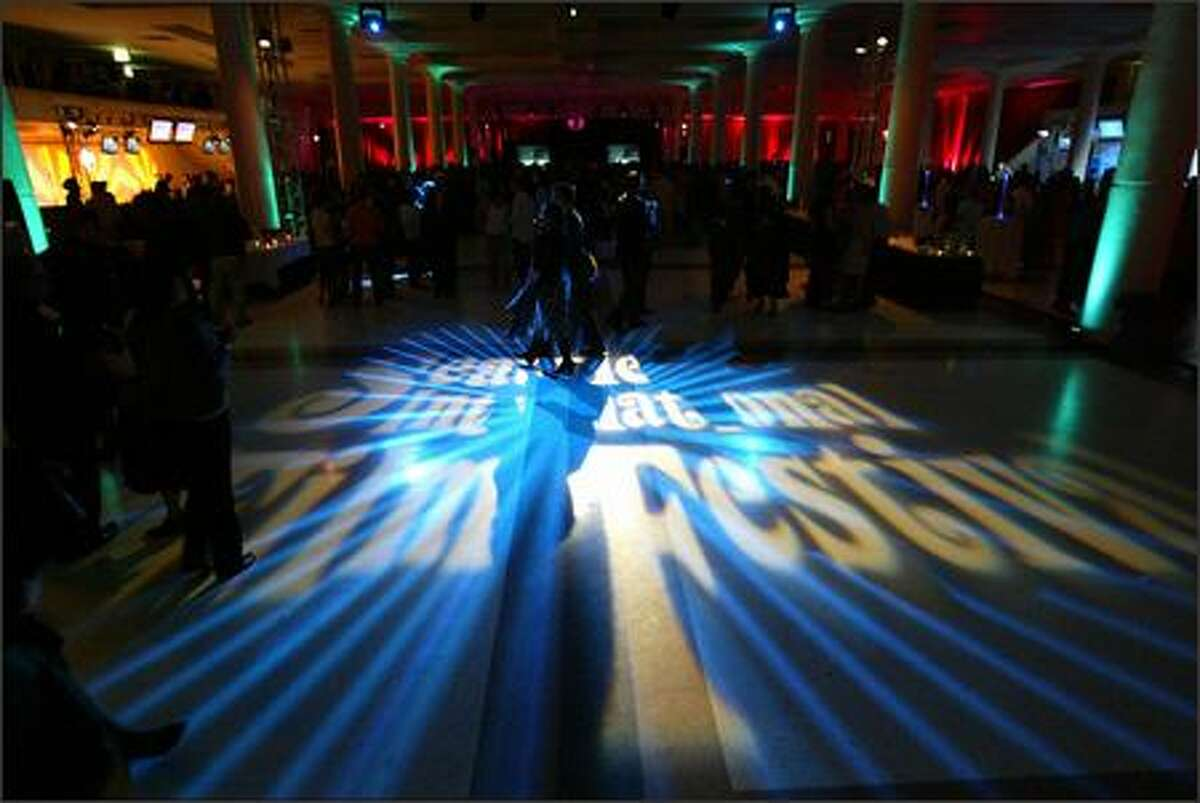 """""""Seattle International Film Festival"""" illuminates the floor at the gala opening for SIFF 2007 at McCaw Hall."""