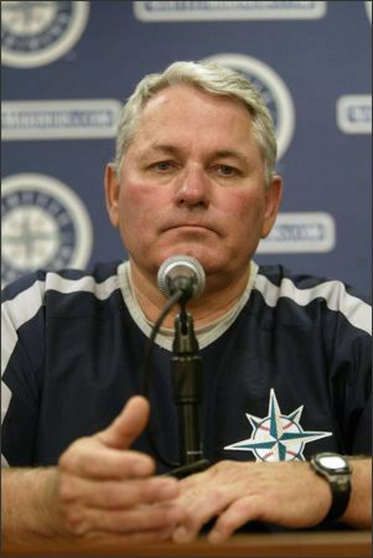 Mike Hargrove discusses his reasons for resigning as manager of the Mariners during a press conference before Sunday's game, his last at the club's helm.
