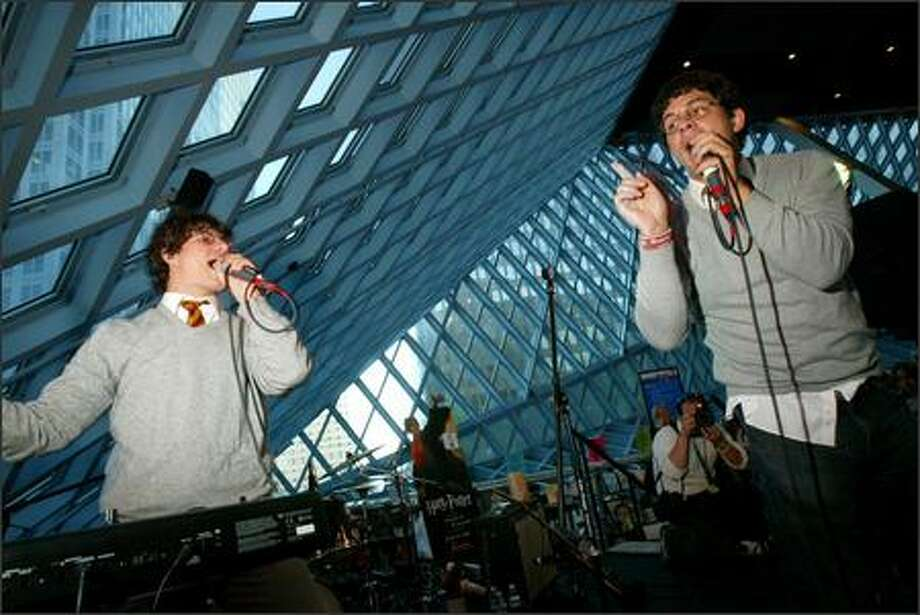 Harry and the Potters perform Friday night at Seattle Public Library. Brothers Joe DeGeorge (left) and Paul DeGeorge, from Massachusetts, tour the country as Harry Year 7 and Harry Year 4. They've issued three full-length albums since forming as a joke in 2002. Photo: Karen Ducey, Seattle Post-Intelligencer