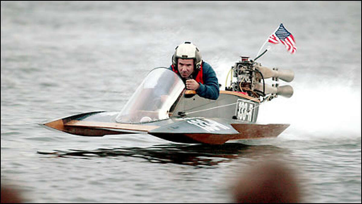 Garry Rice speeds away from the Jenson Point boat launch on Vashon Island in his first serious attempt at competing in the annual Ted Jones Memorial Race. After weeks of work on his boat and engine, including an emergency repair the day before the race, Rice made it only about a mile down the 50-mile course.