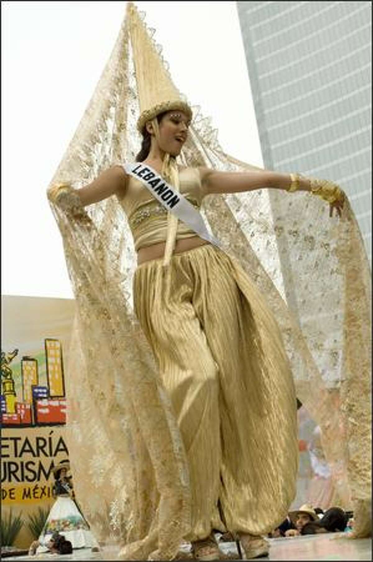 Nadine Njeim, Miss Lebanon 2007, at the 2007 Miss Universe National Costume Show at the Angel of Independence in Mexico City on May 20.