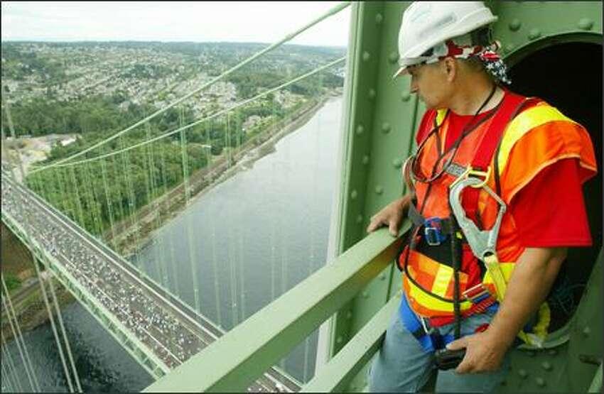 Steve Hodge, suspension bridge maintenance specialist for the Washington State Dept. of Transportation, has what he calls his