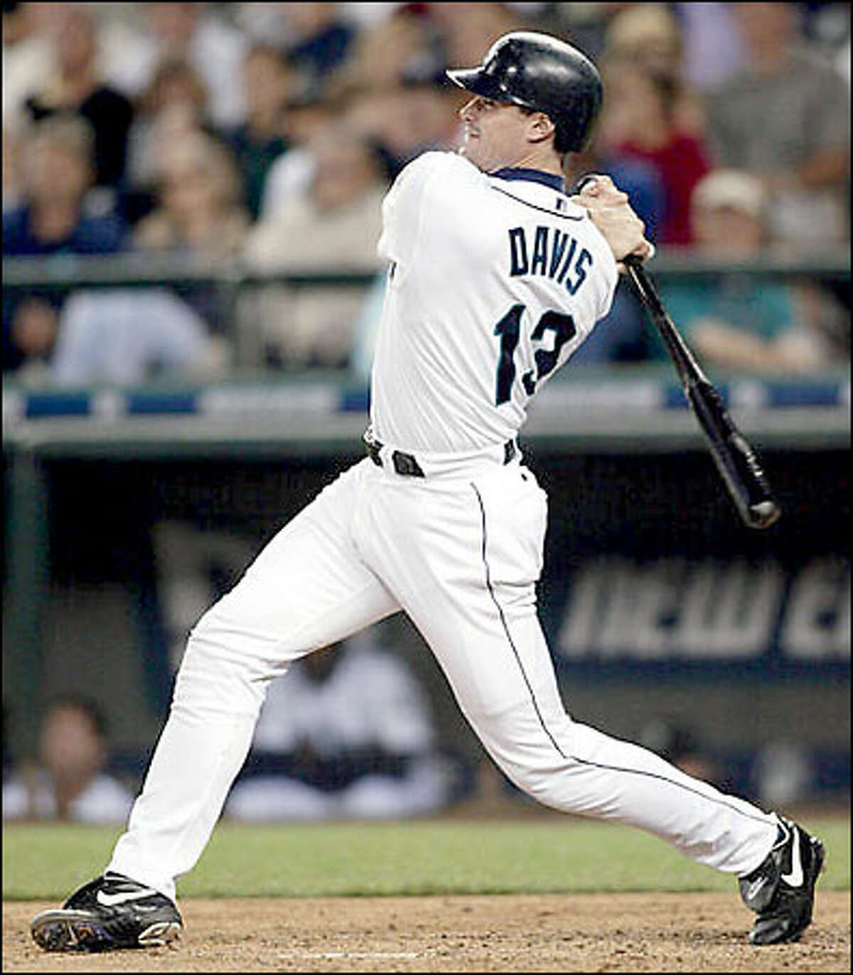 Mariners' Ben Davis hit a three-run home run on a pitch from Cleveland Indians' Sean Depaula during the sixth inning.