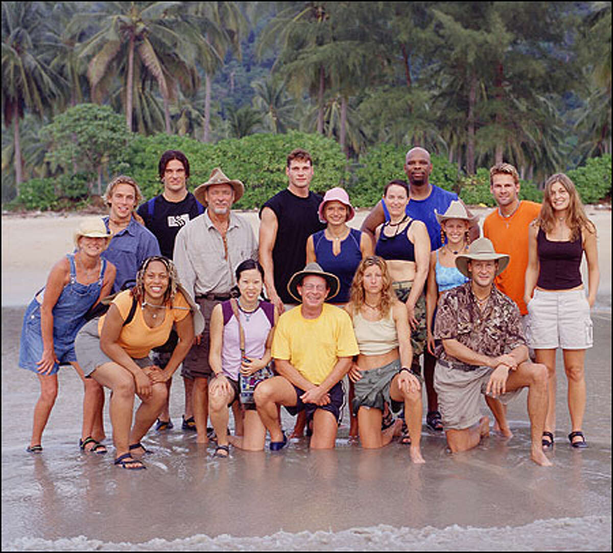 The Survivor: Thailand castaways: (top l-r) Jan Gentry, Jed Hildebrand, Robb Zbacnik, Jake Billingsley, Ken Stafford, Erin Collins, Helen Glover, Ted Rogers, Jr., Penny Ramsey, Brian Heldik and Tanya Vance. (Bottom l-r) Ghandia Johnson, Shii Ann Huang, Clay Jordan, John Raymond and Stephanie Dill.