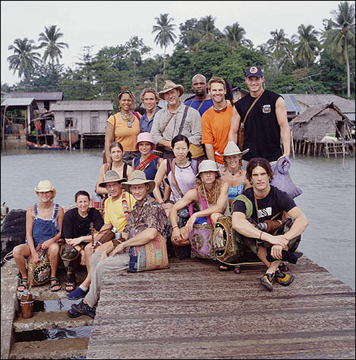 The Survivor: Thailand castaways: (top l-r) Ghandia Johnson, Jed Hildebrand, Jake Billingsley, Ted Rogers, Jr., Brian Heidik, Ken Stafford, (middle l-r) Tanya Vance, Erin Collins, Shii Ann Huang, Stephanie Dill, Penny Ramsey and Robb Zbacnik. (bottom l-r) Jan Gentry, Helen Glover, Clay Jordan and John Raymond.