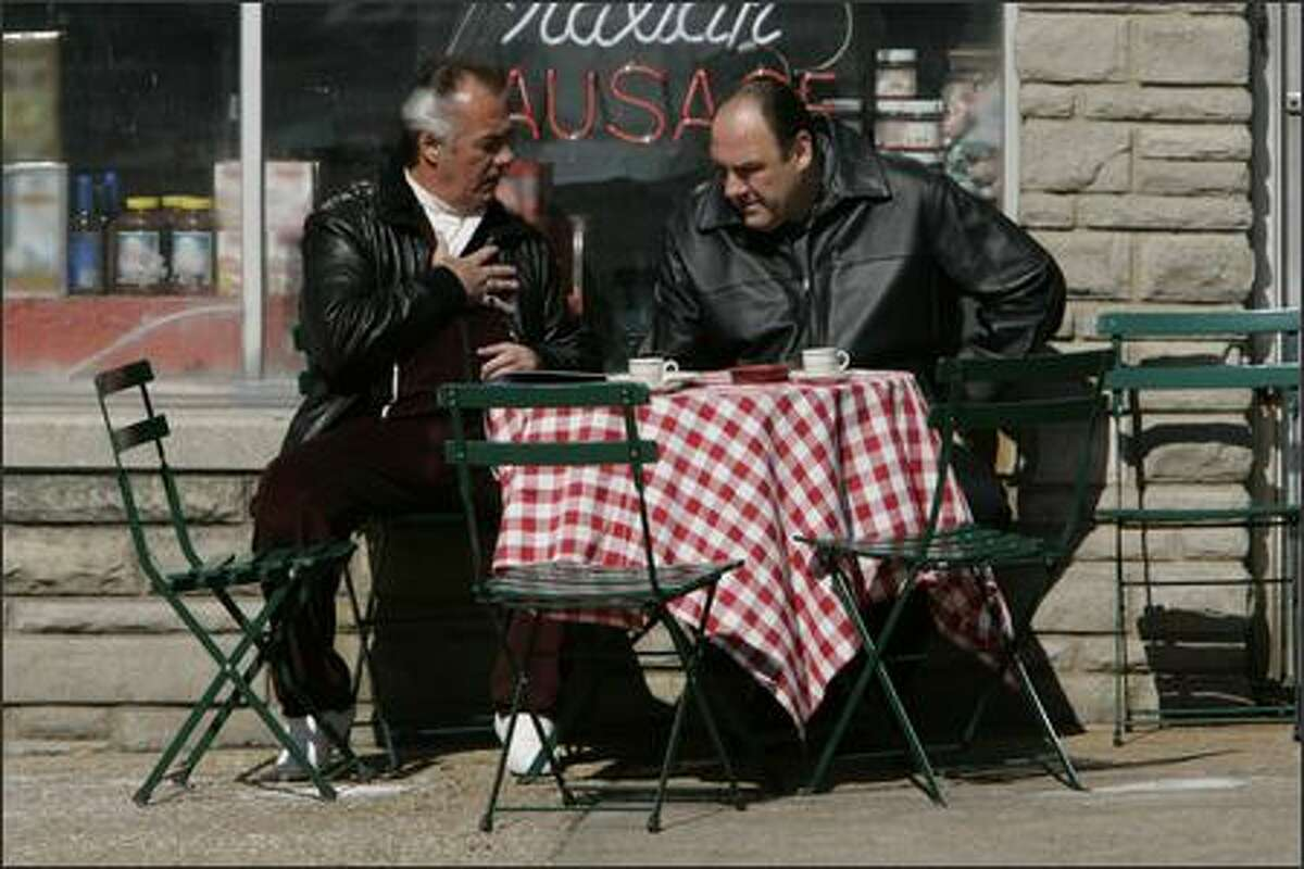 """Paulie turns the job down, is very superstisious"" James Gandolfini (Tony Soprano) Tony Sirico (Paulie Walnuts) on The Sopranos."