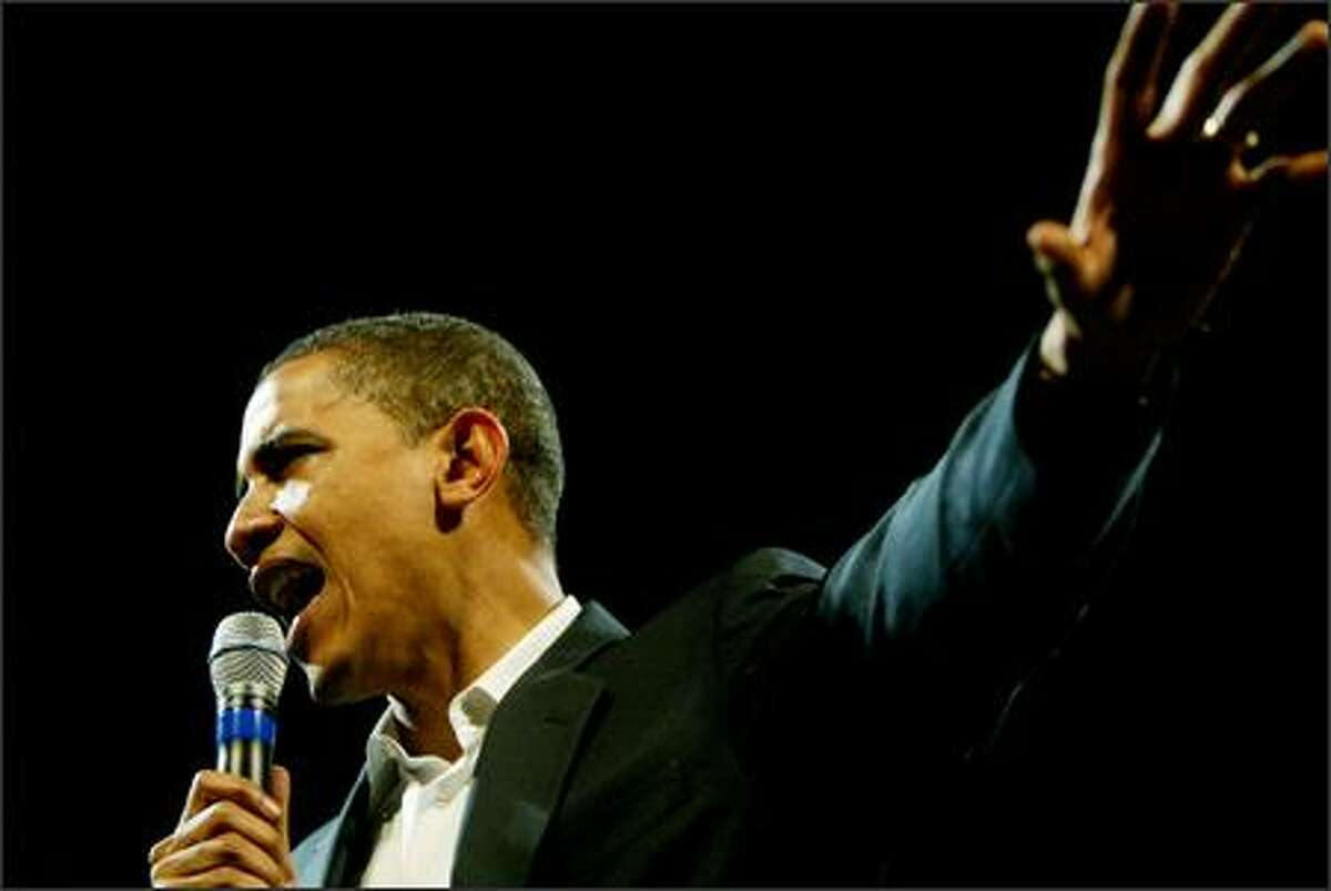Presidential candidate Illinois Senator Barack Obama speaking to a crowd of supporters at the WAMU Theater in Seattle, Washington of Friday, June 1, 2007.