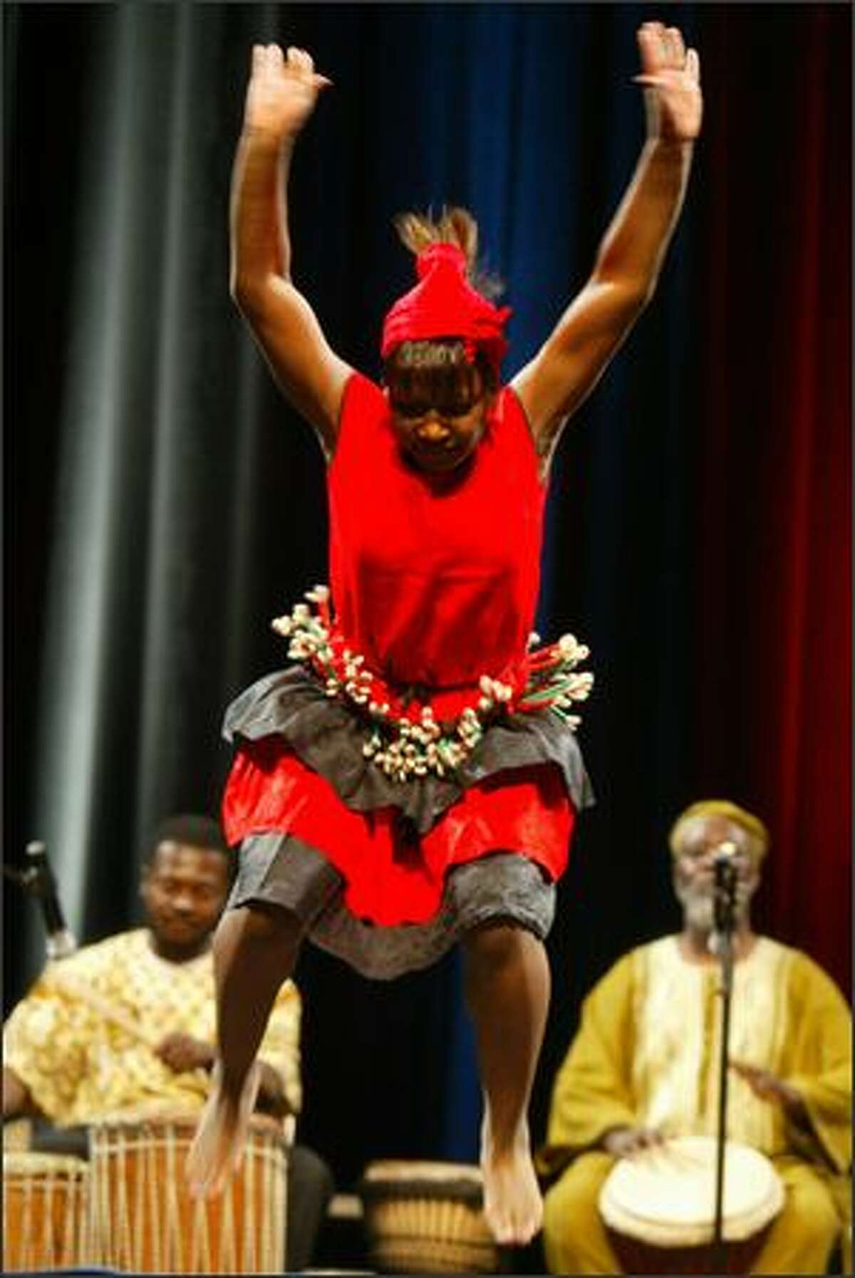 A Seattle African dance group performed before Senator Barack Obama's speech at the WAMU Theater.