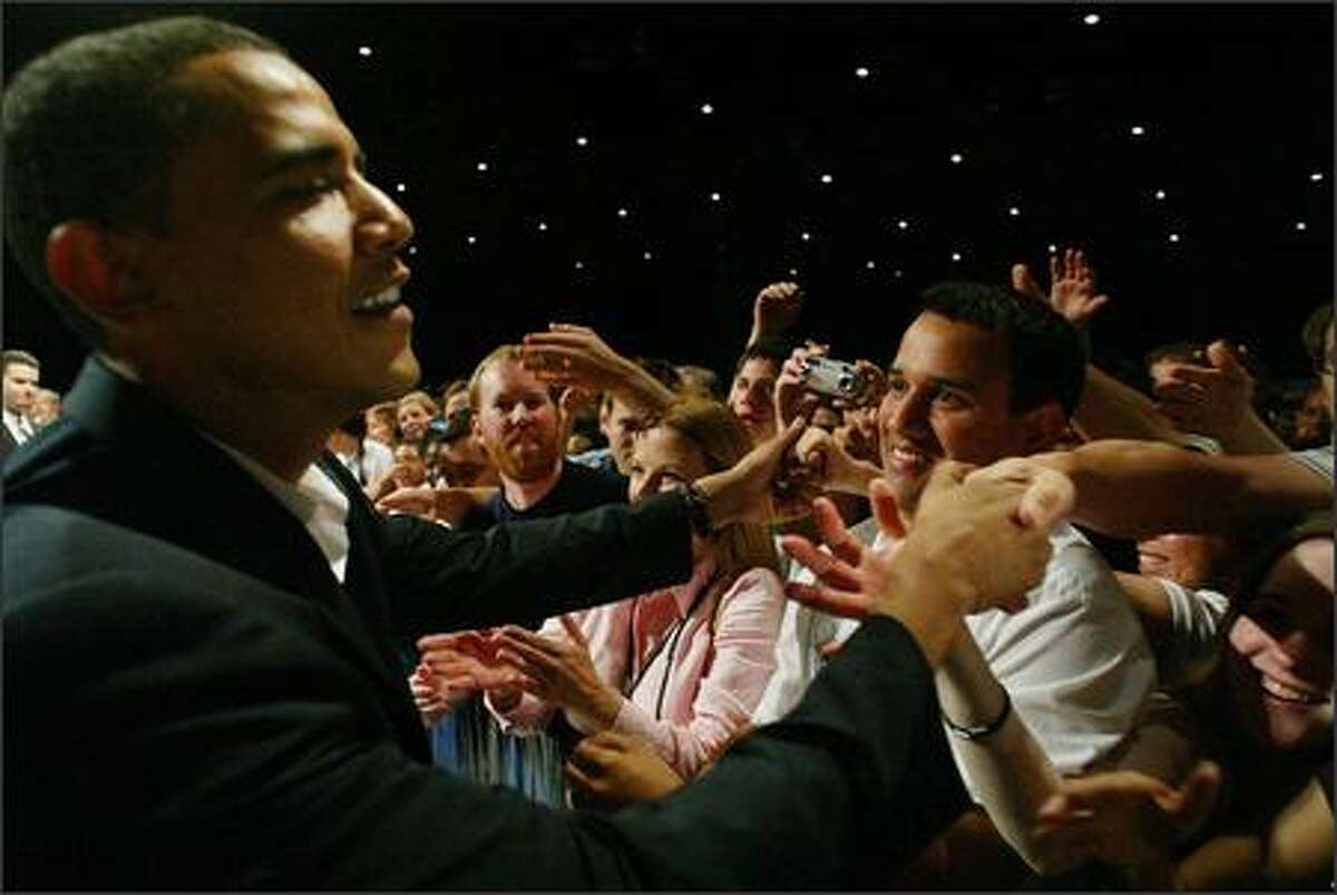 Senator Barack Obama works the crowd after his speech at WAMU Theater on Friday, June 1, 2007.