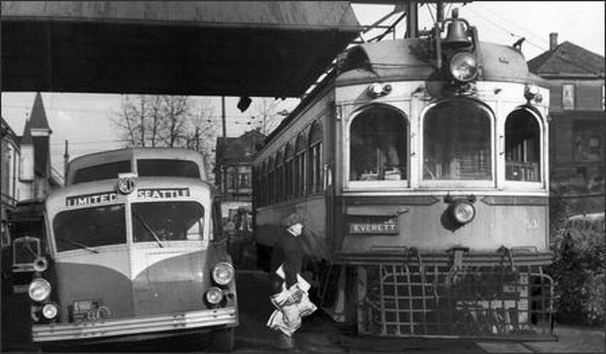 The Interurban, right, that connected Seattle with Everett made its last run Feb. 21, 1939. It was the victim of competition from cars and buses.