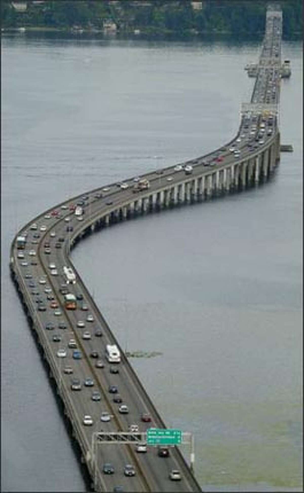 The Evergreen Point Floating Bridge (Highway 520) crosses Lake Washington on its way to the Eastside.