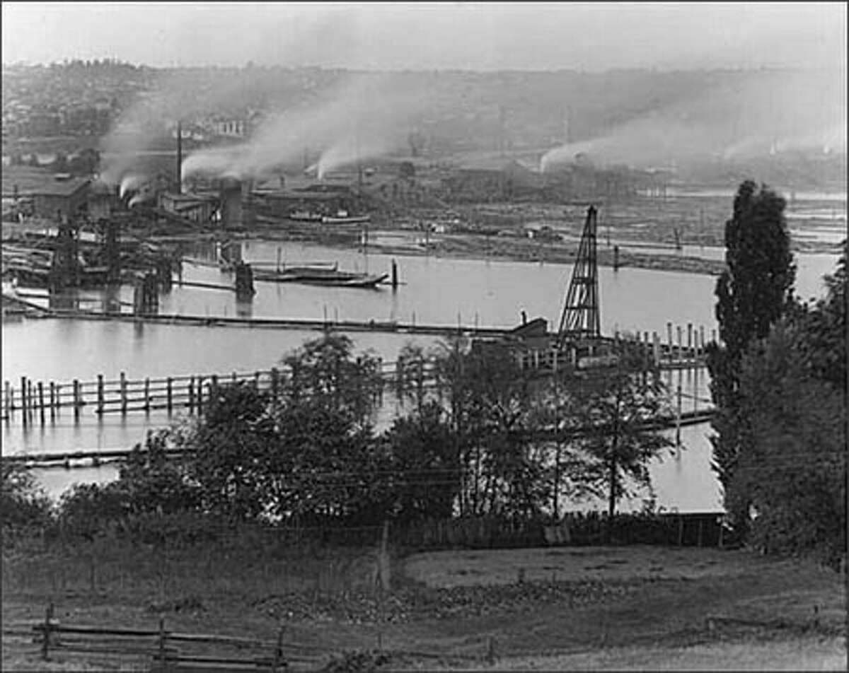 Salmon Bay, seen from an early Ballard neighborhood. Photo taken in 1913.
