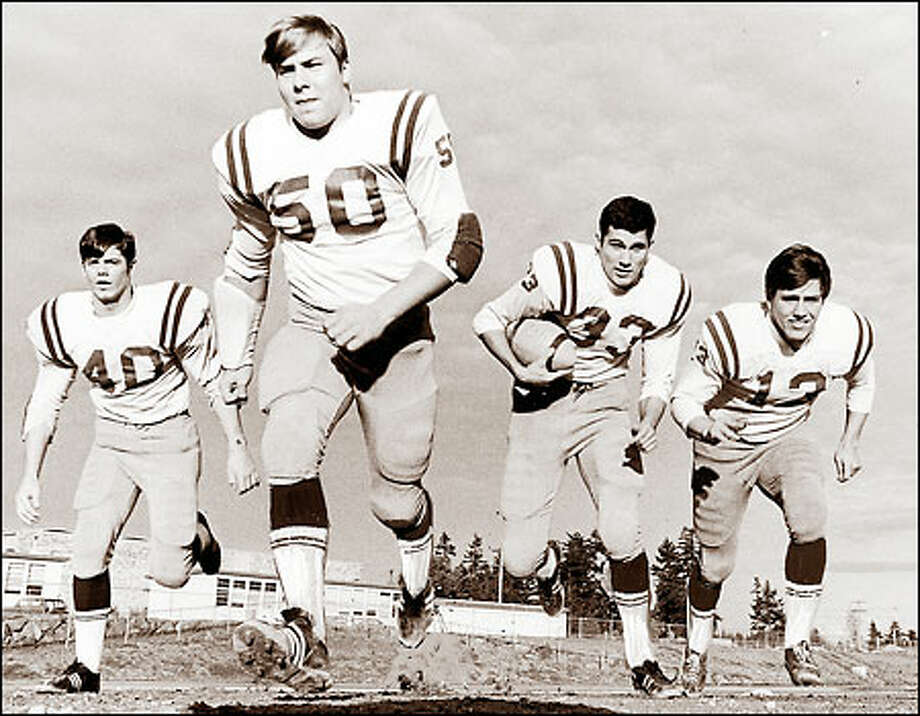 Jay Inslee (33) already had gathered a determined group of supporters when he played quarterback for Seattle's Ingraham High School in the late '60s. Photo: P-I File
