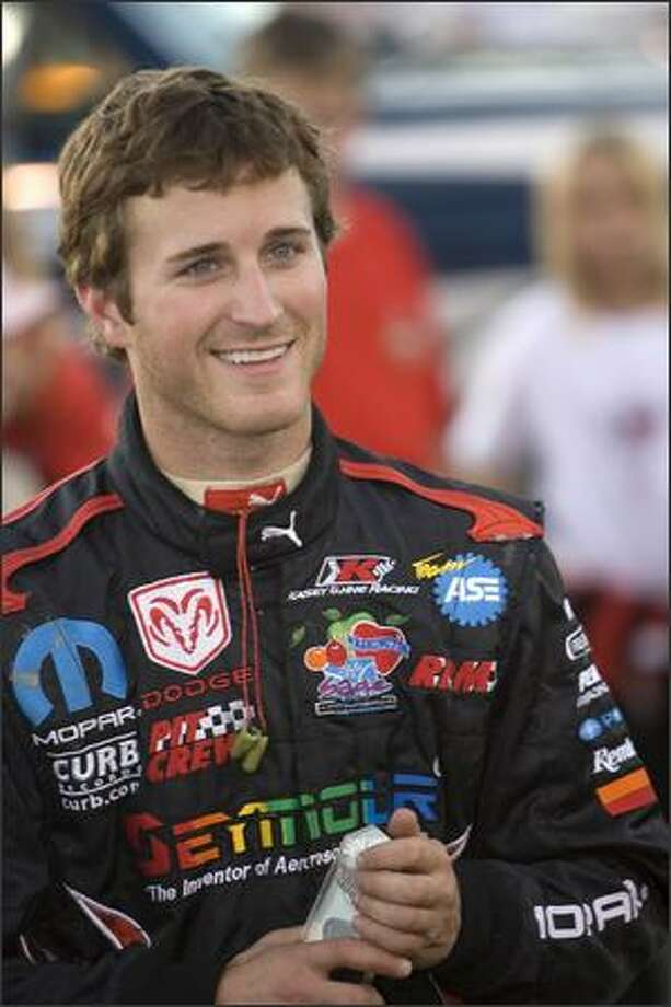 Kasey Kahne smiles during opening ceremonies Wednesday at Skagit Speedway's Kasey Kahne Foundation Night 360 Sprint Car races. Photo: Grant M. Haller, Seattle Post-Intelligencer