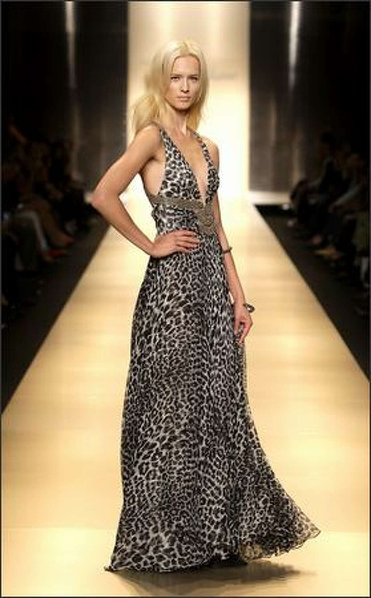A model displays a creation by Jenny Packham.