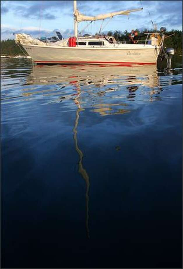 A sailboat at anchor in Roche Harbor, one of the few fuel and food stops for boats in the northern San Juan Islands. Photo: Joshua Trujillo, Seattlepi.com