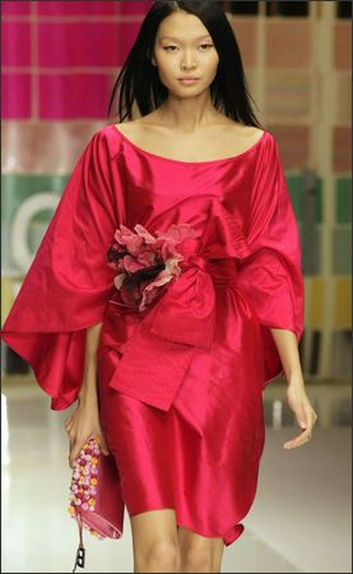 A model presents a creation by Italian designer Laura Biagiotti during the Spring/Summer 2008 collections of the Milan ready-to-wear fashion shows.