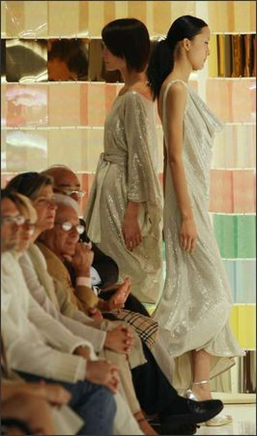 Models present creations by Italian designer Laura Biagiotti during the Spring/Summer 2008 collections of the Milan ready-to-wear fashion shows.