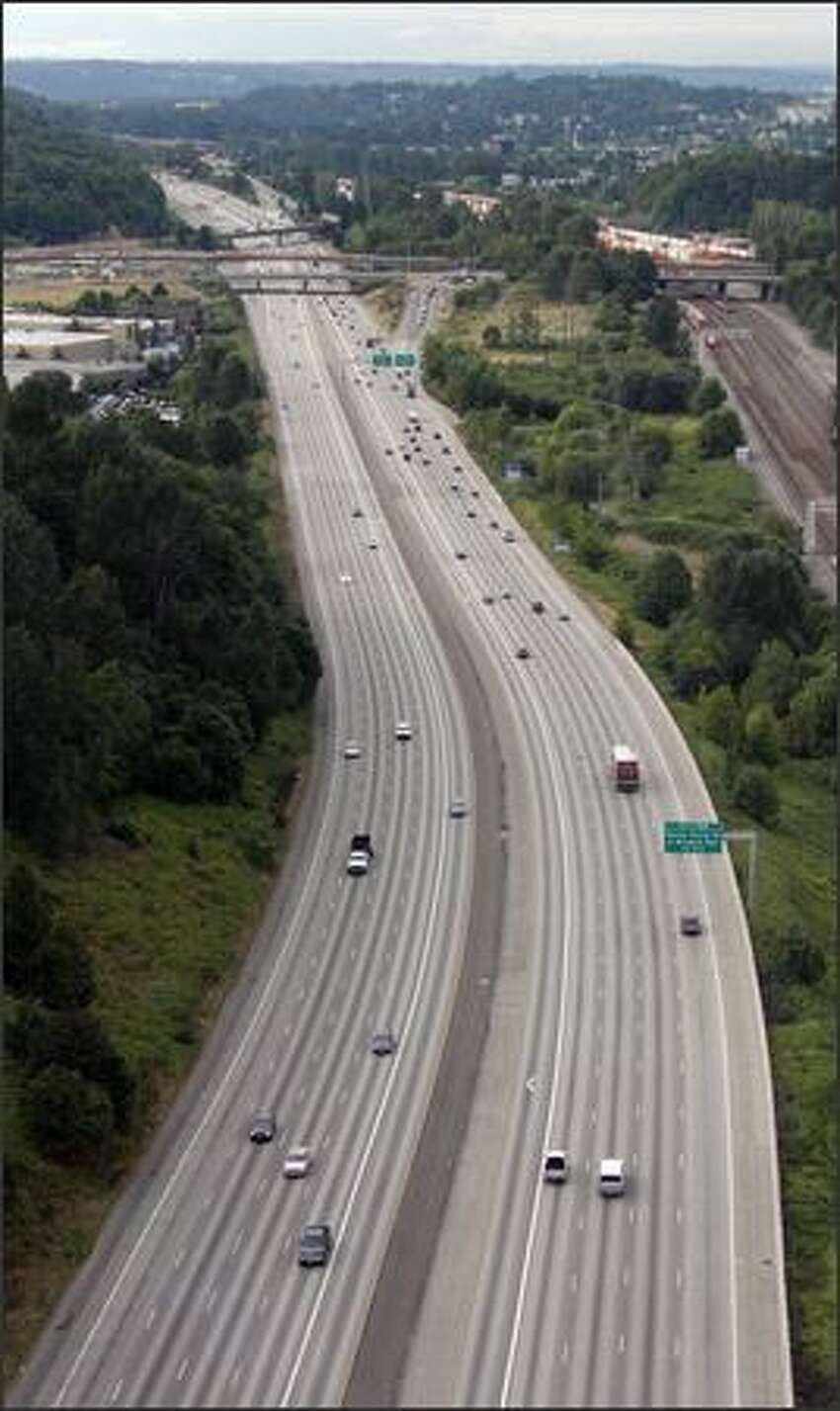 A relatively clear I-5 is shown at 7:45 a.m. Monday near Boeing Access Road south of the construction zone.