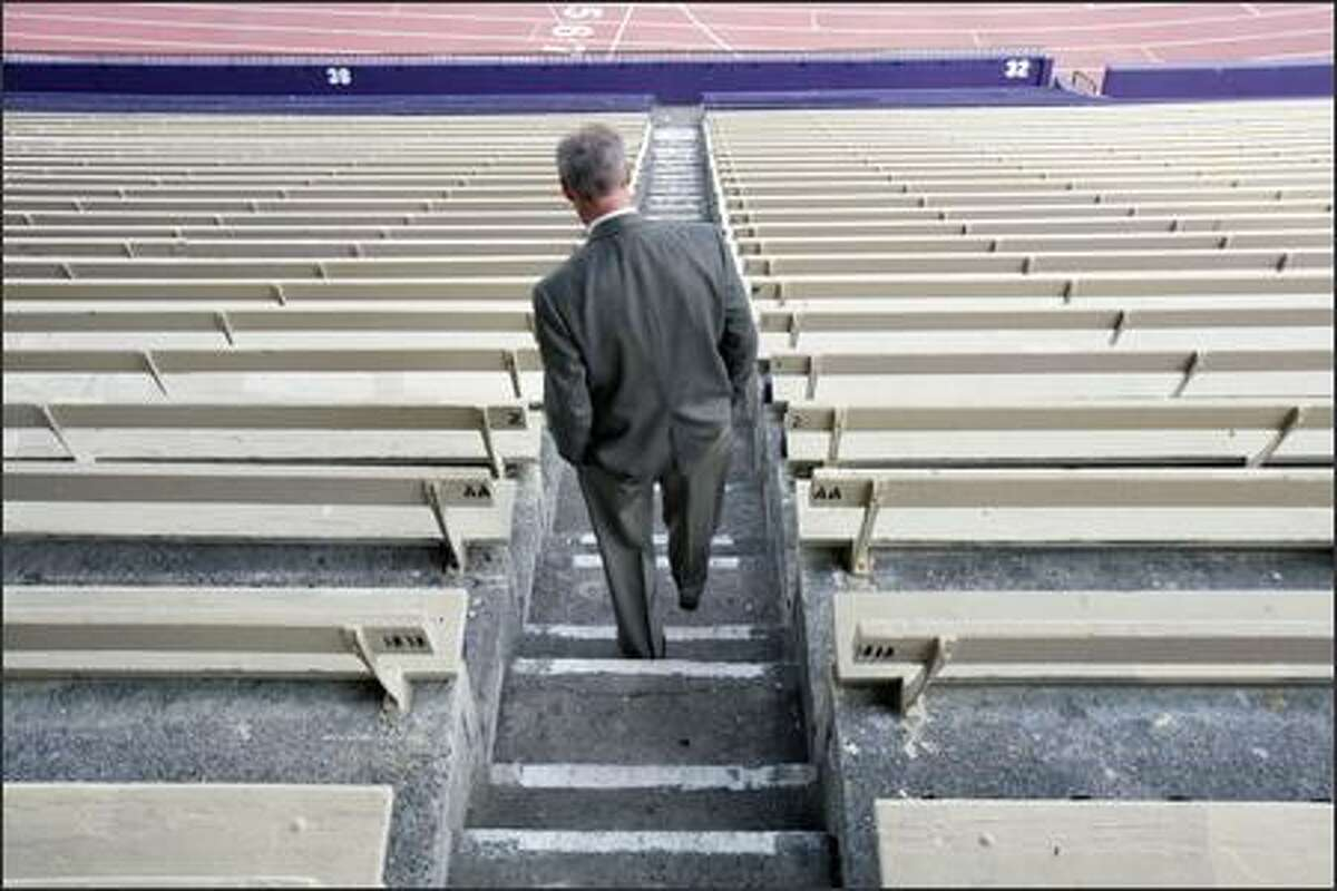 Chip Lydum, the University of Washington's assistant athletic director in charge of operations and capital projects, led a tour of Husky Stadium Thursday, Sept. 20, 2007, pointing out wear and tear on the structure. Refurbishing or replacing the stadium would cost hundreds of millions of dollars.