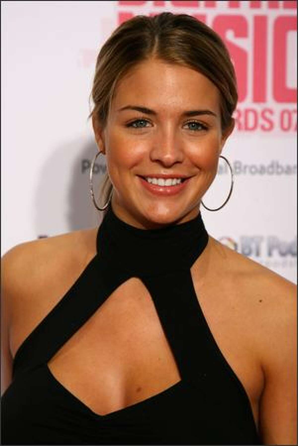 Actress Gemma Atkinson arrives at the BT Digital Music Awards at the Roundhouse on October 2, 2007 in London, England.