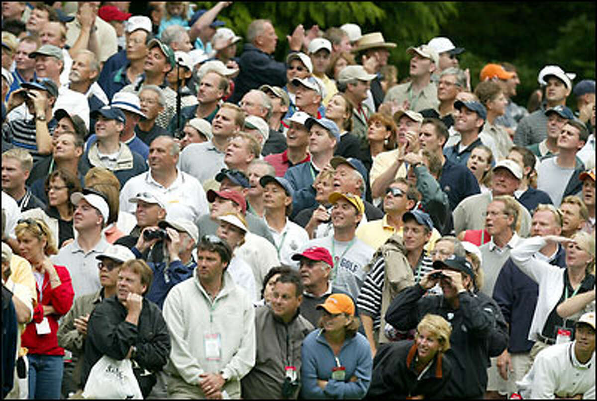 The gallery watches Craig Parry's approach to the 18th green.