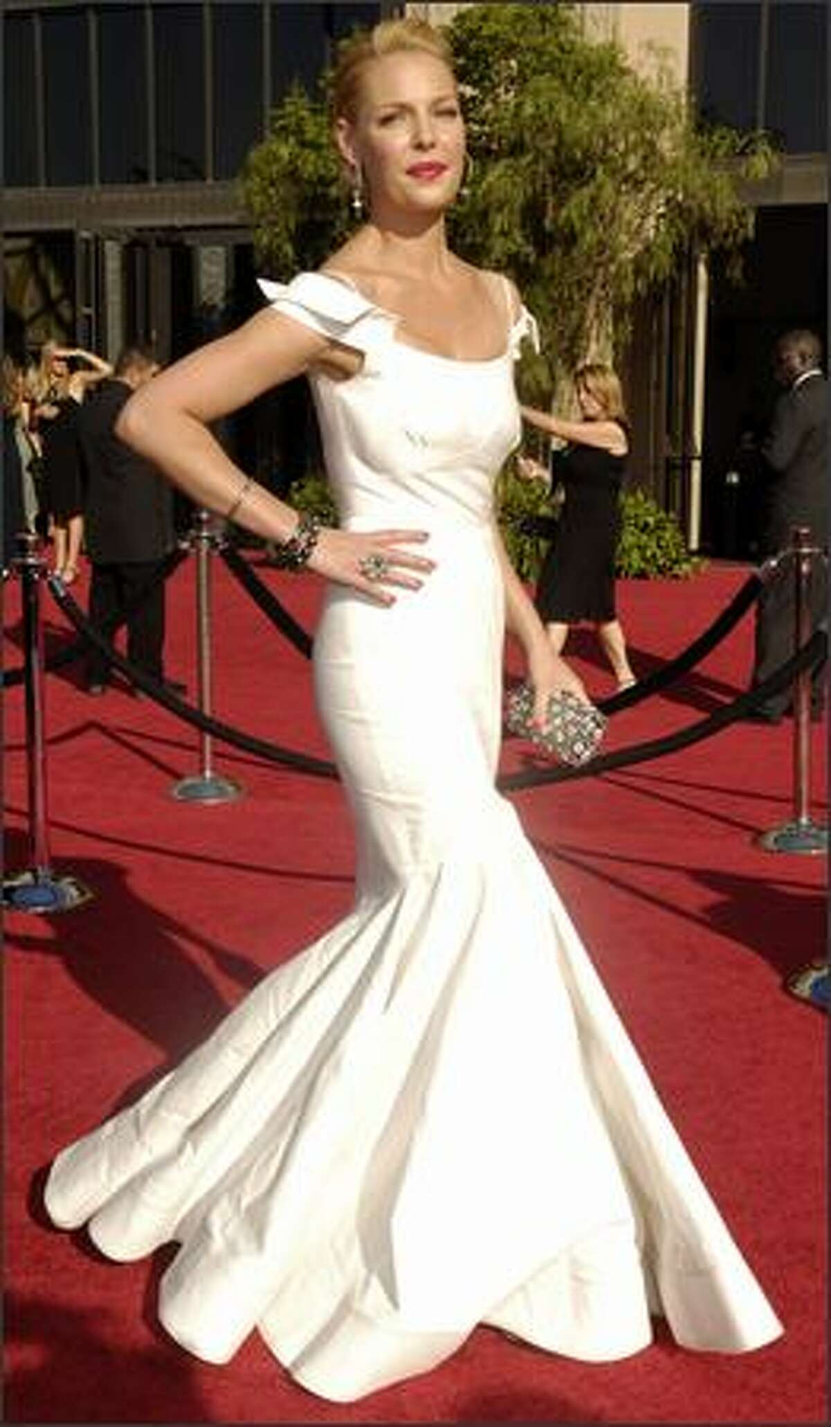 Katherine Heigl arrives for the 59th Primetime Emmy Awards. Heigl is nominated for outstanding supporting actress in a drama series for her work on