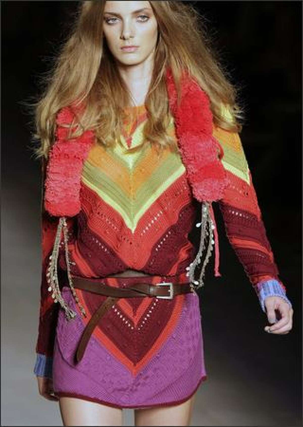 A model presents a creation by Italian designer Veronica Etro.