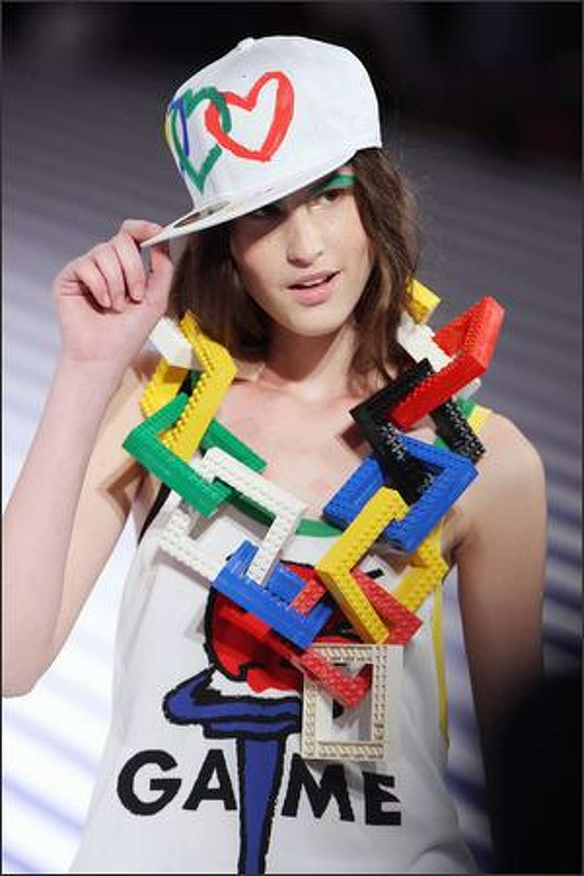 A model presents a creation by French designer Jean-Charles de Castelbajac during Spring/Summer 2008 ready-to-wear collection show in Paris, 05 October 2007.
