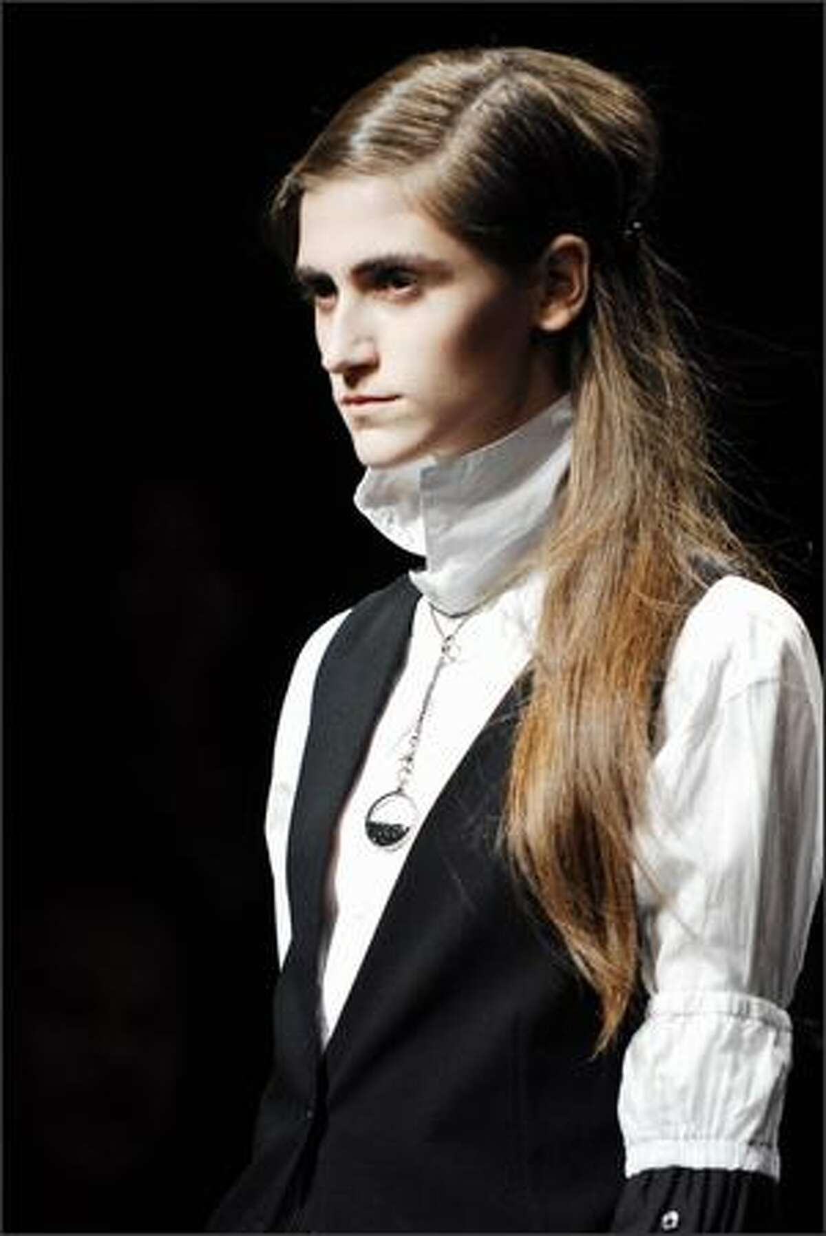 A model presents a creation by Belgian designer Ann Demeulemeester during the Spring/Summer 2008 ready-to-wear collection show in Paris.