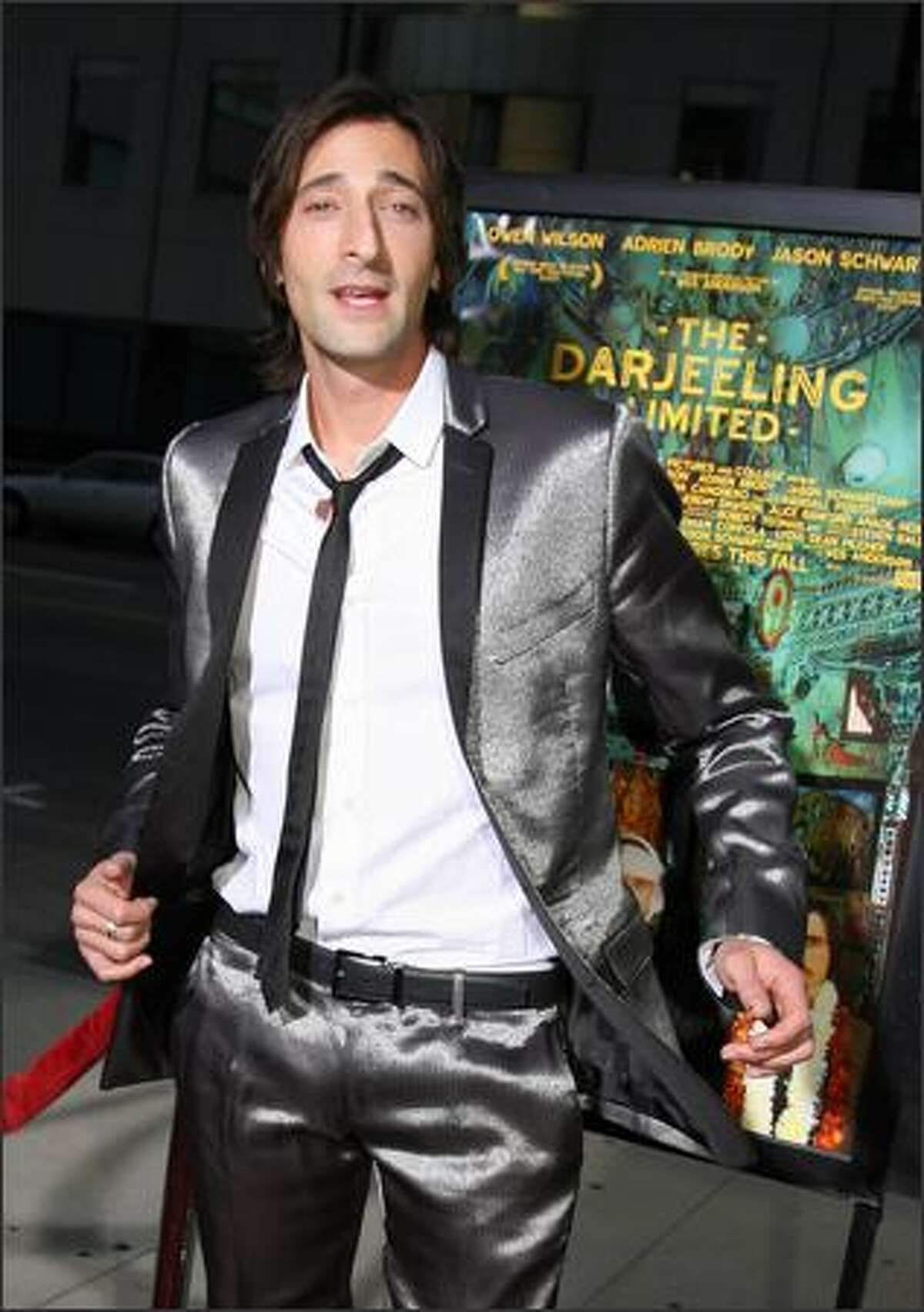 Actor Adrien Brody arrives at the premiere of The Darjeeling Limited in Beverly Hills, California. The film is about three American brothers, who have not spoken to each other in a year. They set off on a train voyage across India with a plan to find themselves and bond with each other.