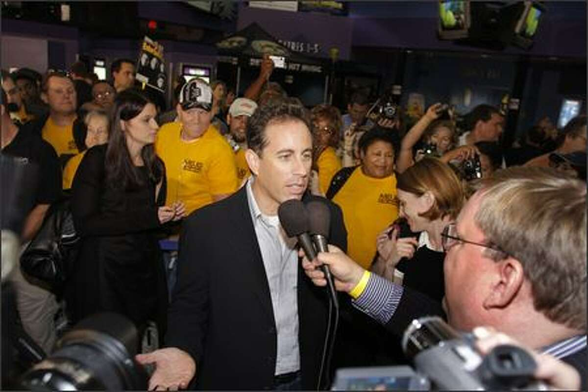 Comedian and actor Jerry Seinfeld makes an appearance to promote his new film,